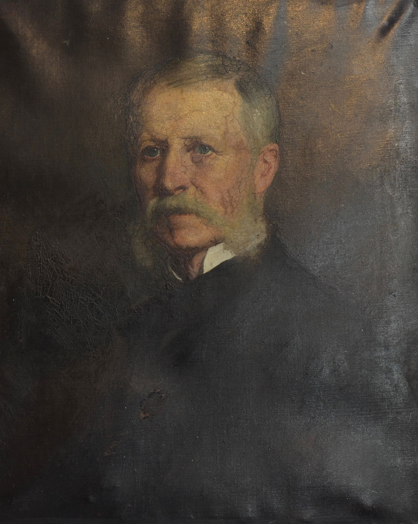Portrait of Benjamin Davies by Robert Harris before treatment