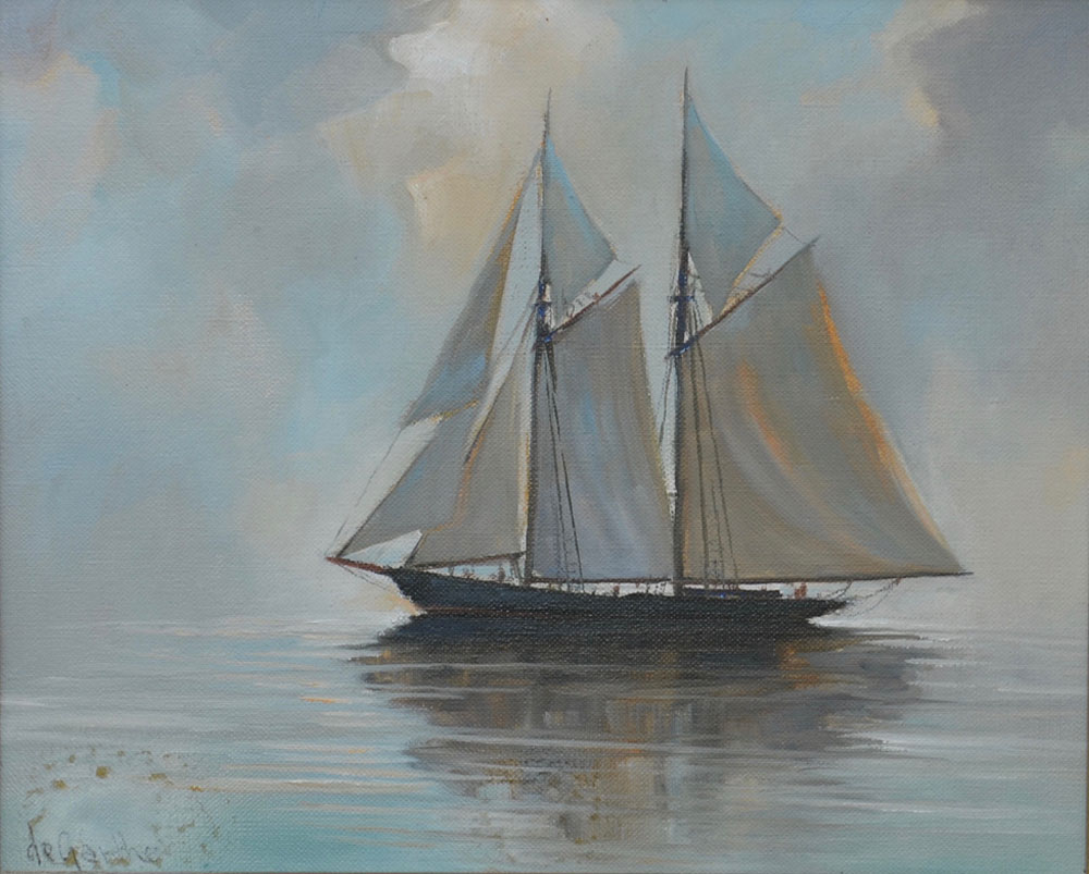 DeGarthe painting of Bluenose before treatment